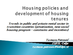 Housing policies and development of housing tenures