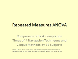 Repeated Measures ANOVA PowerPoint PPT Presentation