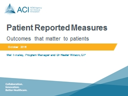 Patient Reported Measures