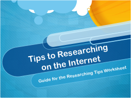Tips to Researching