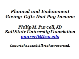 Planned and Endowment Giving: