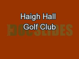 Haigh Hall Golf Club