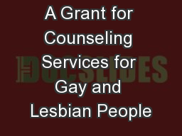 A Grant for Counseling Services for Gay and Lesbian People