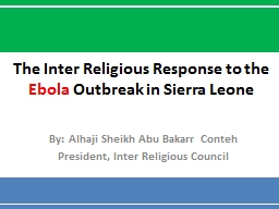 The Inter Religious Response to the