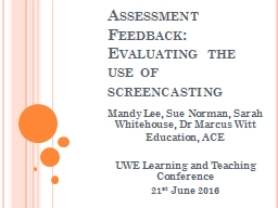 Assessment Feedback: Evaluating the use of