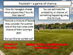 Football – a game of chance