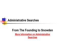 Administrative Searches PowerPoint PPT Presentation