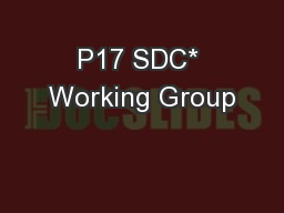 P17 SDC* Working Group PowerPoint PPT Presentation