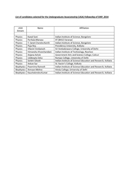 List of candidates selected for the Undergraduate Asso