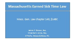 Massachusetts Earned Sick Time Law PowerPoint PPT Presentation