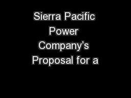 Sierra Pacific Power Company's Proposal for a