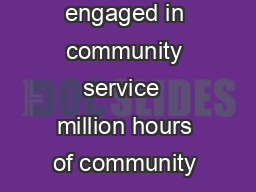 million students engaged in community service  million hours of community ser  PowerPoint PPT Presentation