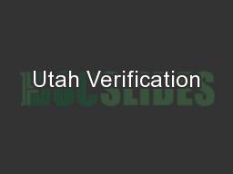 Utah Verification