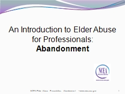 An Introduction to Elder Abuse for Professionals: