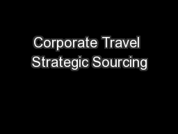 Corporate Travel Strategic Sourcing