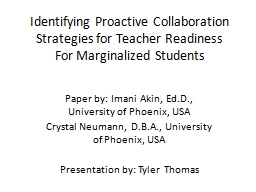 Identifying Proactive Collaboration PowerPoint PPT Presentation