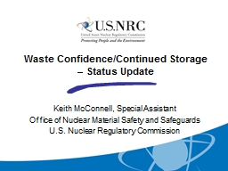 Waste Confidence/Continued Storage � Status Update