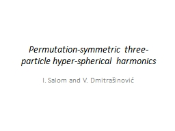 Permutation-symmetric three-particle hyper-spherical harmon