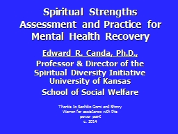 Spiritual Strengths Assessment and Practice for Mental Heal