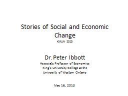 Stories of Social and Economic Change