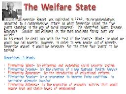 The Welfare State PowerPoint PPT Presentation