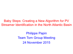 Baby Steps: Creating a New Algorithm for PV Streamer Identi