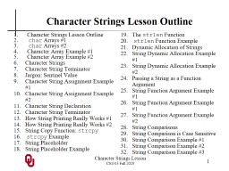 Character Strings Lesson