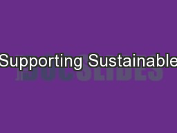 Supporting Sustainable