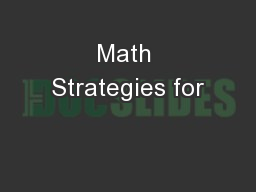 Math Strategies for