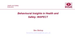 Behavioural Insights in Health and Safety: INSPECT