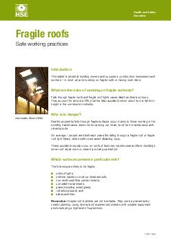 Health and Safety Executive  of  pages Introduction This leaflet is aimed at building owners and occupiers construction businesses and workers  in short anyone working on fragile roofs or having work