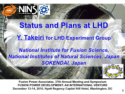 Status and Plans at LHD