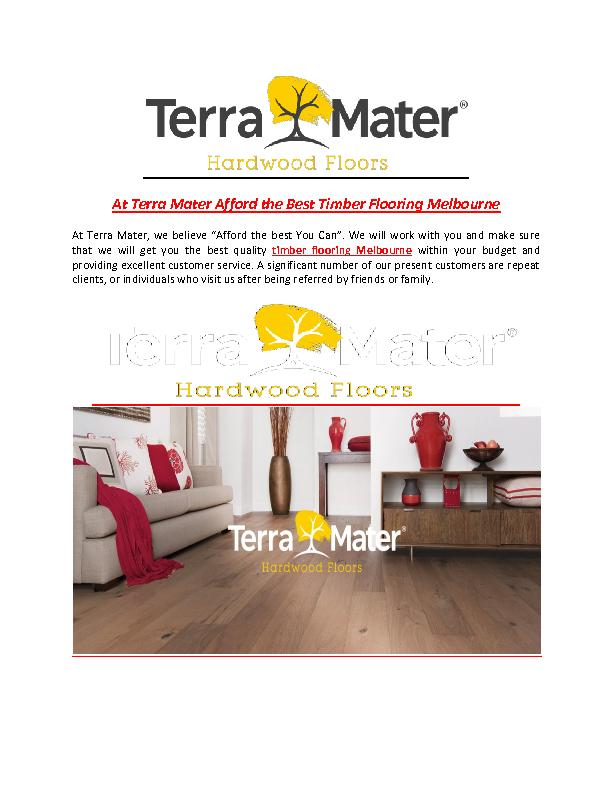 At Terra Mater Afford the Best Timber Flooring Melbourne