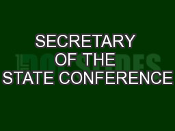 SECRETARY OF THE STATE CONFERENCE