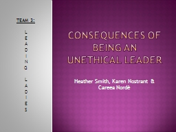 Consequences of being an unethical leader PowerPoint PPT Presentation