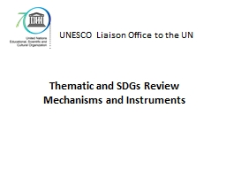 Thematic and SDGs Review Mechanisms and Instruments