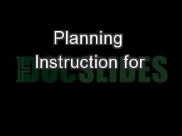Planning Instruction for