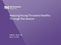 Keeping Young Throwers Healthy Through the Season