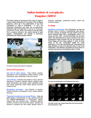 ndian Institute of Astrophysics Bangalore    brPage