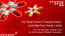 """Introduction to """"Dear Doctor"""" Postcards:"""