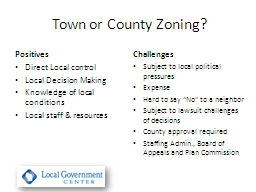 Town or County Zoning? PowerPoint PPT Presentation