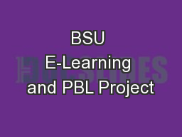 BSU E-Learning and PBL Project
