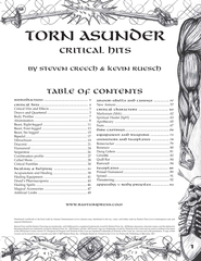 Torn Asunder Critical Hits Table of Contents Introduct