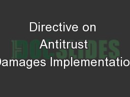 Directive on Antitrust Damages Implementation