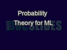 Probability Theory for ML