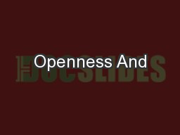 Openness And