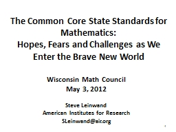 1 The Common Core State Standards for Mathematics: PowerPoint PPT Presentation