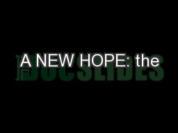 A NEW HOPE: the