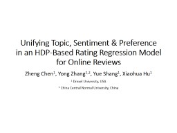 Unifying Topic, Sentiment & Preference PowerPoint PPT Presentation