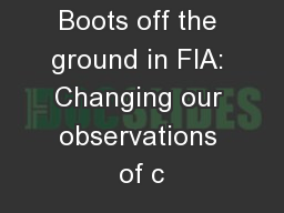 Boots off the ground in FIA: Changing our observations of c PowerPoint PPT Presentation